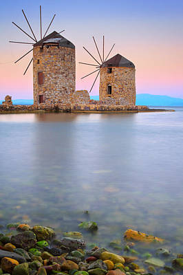 Windmills  Poster by Emmanuel Panagiotakis