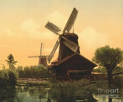 Windmills On The Noordendijk Poster by Padre Art