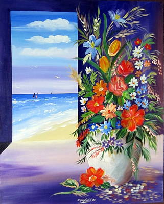 Poster featuring the painting Window On The Beach by Roberto Gagliardi