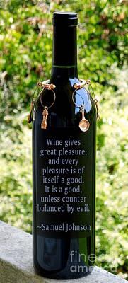 Wine Gives Great Pleasure Poster by Renee Trenholm