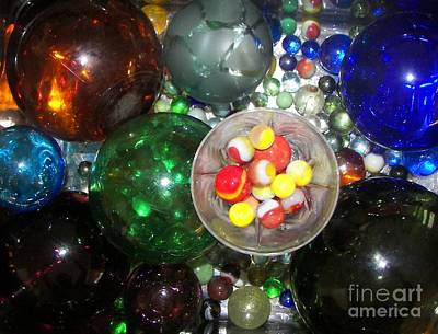 Wine Glass And Marbles Poster by Rachel Carmichael