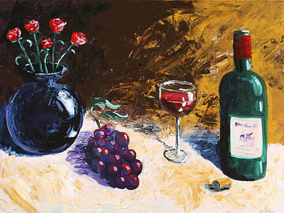 Poster featuring the painting Wine Grapes And Roses Still Life Painting by Mark Webster