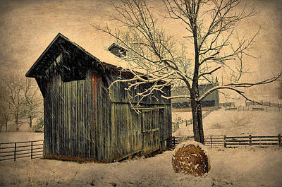 Winter Barn Poster by Todd Hostetter