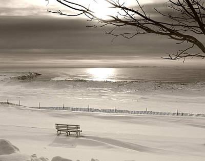 Winter Beach Morning Bw Poster by Bill Pevlor