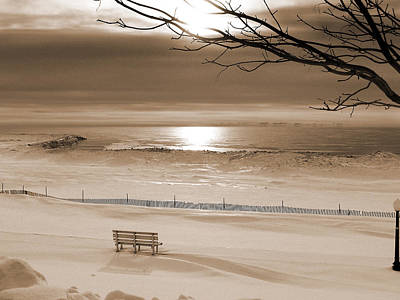 Winter Beach Morning Sepia Poster
