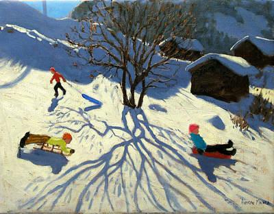 Winter Hillside Morzine France Poster