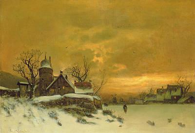 Winter Landscape Poster by Friedrich Nicolai Joseph Heydendahl
