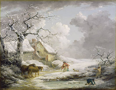 Winter Landscape With Men Snowballing An Old Woman Poster by George Morland