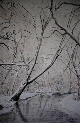 Poster featuring the drawing Winter Light by Lynn Hughes