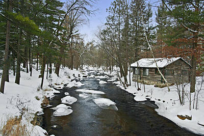 Poster featuring the photograph Winter Saxeville Log Cabin by Judy  Johnson