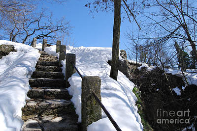 Poster featuring the photograph Winter Scene Of San Marino Castles  Pathway  by Alexandra Jordankova