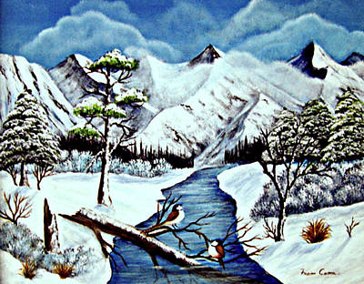 Poster featuring the painting Winter Serenity by Fram Cama