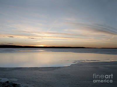 Winter Sunset Over Lake Poster by Art Whitton