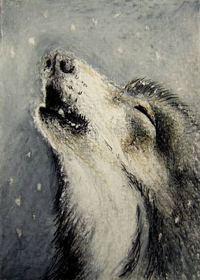 Poster featuring the drawing Wolf Cry...... Miniature by Lynn Hughes