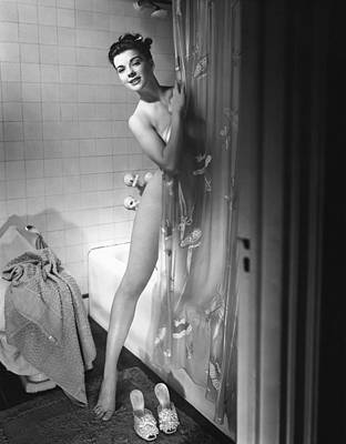 Woman Behind Shower Curtain Poster by George Marks