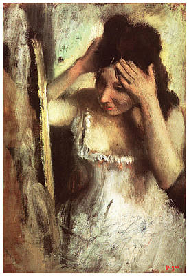 Woman Combing Her Hair Before A Mirror Poster