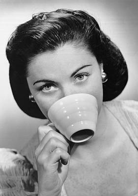Woman Drinking From Cup Poster