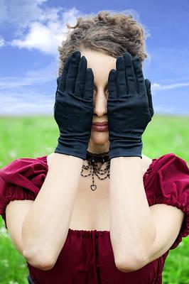 Woman Hiding Poster by Joana Kruse