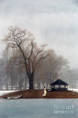 Woman In Lace Gown By A Gazebo In Winter Poster