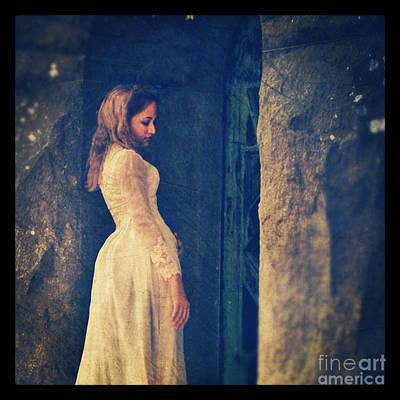 Woman In White In Doorway Poster by Jill Battaglia