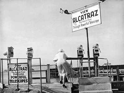 Woman Looking At Alcatraz Poster by Underwood Archives