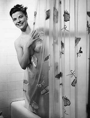 Woman Peering Through Shower Curtain, (b&w), Portrait Poster by George Marks