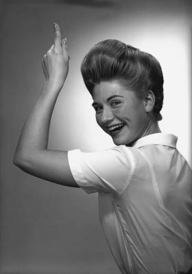 Woman Pointing Up In Studio, (b&w), Portrait Poster