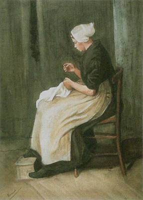 Woman Sewing Poster by Vincent Van Gogh