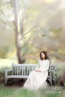 Woman Sitting On Park Bench Poster