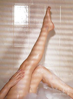 Woman Taking A Bath Poster by Oleksiy Maksymenko