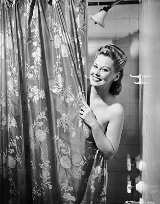 Woman Taking Shower Poster by George Marks