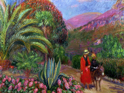 Woman With Child On A Donkey Poster by William James Glackens