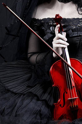 Poster featuring the photograph Woman With Red Violin by Ethiriel  Photography