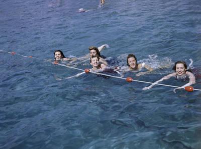 Women Swim In A Municipal Swimming Pool Poster by B. Anthony Stewart