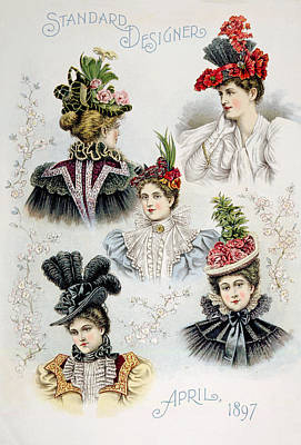 Womens Hat Designs For April, 1897 Poster by Everett