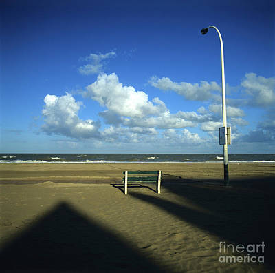 Wooden Bench In Front Of Ocean.deauville. France Poster by Bernard Jaubert