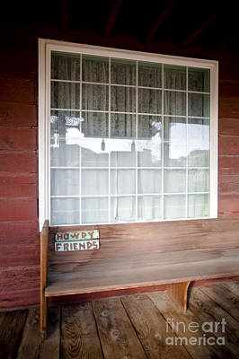Wooden Bench On Rustic Porch Poster