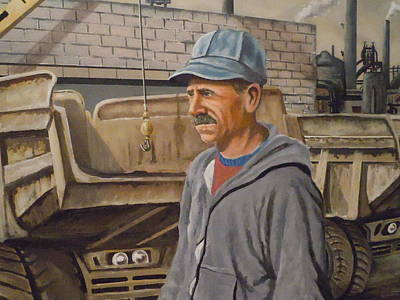Poster featuring the painting Worker At U.s.s.mill Station 108 by James Guentner