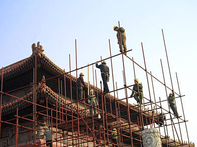 Workers Climb Scaffolding On The Palace Poster by Justin Guariglia