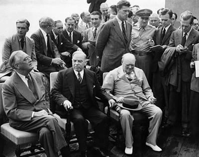 World War II. From Left  Us President Poster by Everett