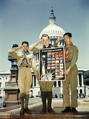 World War II, Three Boy Scouts Poster by Everett