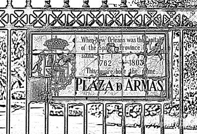 Worn Historic Plaza De Armas Tile Plaque New Orleans Black And White Photocopy Digital Art Poster by Shawn O'Brien