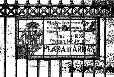 Worn Historic Plaza De Armas Tile Plaque New Orleans Black And White Stamp Digital Art Poster