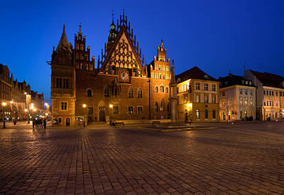 Wroclaw Town Hall At Night Poster by Sebastian Musial