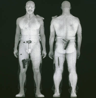 X-ray Views Of Man During Bodysearch Surveillance Poster by American Science & Engineering
