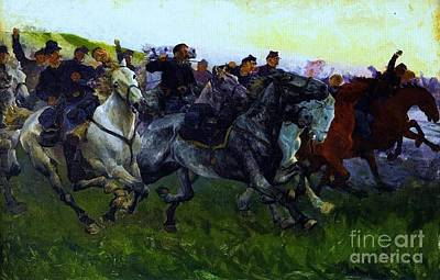 Yankee  Cavalry Charge Poster by Pg Reproductions