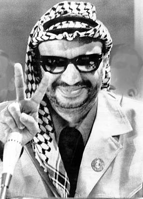 Yasser Arafat Flashes Victory Sign Poster