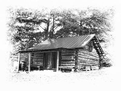 Yates Mill Cabin Black And White Poster