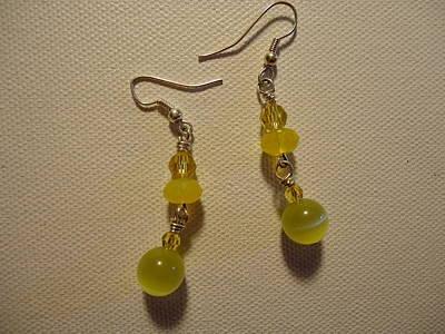 Yellow Ball Drop Earrings Poster