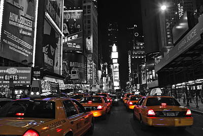 Yellow Cabs In Time Square In New York Poster by Jordan  Drapeau